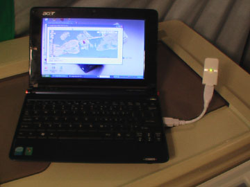 Acer Aspire One image with GPS dongle